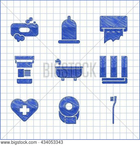 Set Bathtub, Toilet Paper Roll, Toothbrush, Towel Stack, Heart With Cross, Medicine Bottle, Paper To