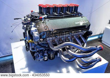 A Bmw Motorsport V 12 Engine In Bmw Museum: Munich, Germany - September 14, 2018: