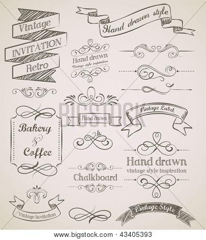 Hand drawn vintage elements