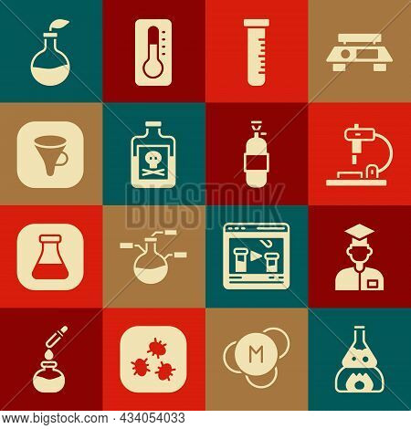 Set Test Tube Flask On Fire, Laboratory Assistant, Microscope, And, Poison In Bottle, Funnel Filter,
