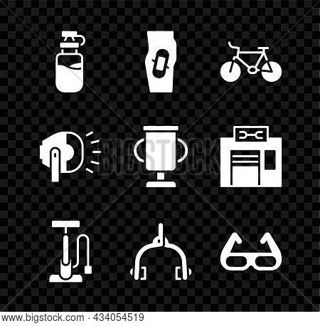 Set Sport Bottle With Water, Plaster On Leg, Bicycle, Air Pump, Brake Calipers, Cycling Sunglasses,