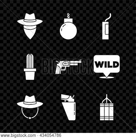 Set Cowboy, Bomb Ready To Explode, Dynamite Bomb, Western Cowboy Hat, Revolver Gun In Holster, Cactu