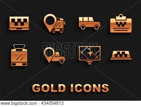 Set Location With Taxi, Taxi Driver License, Car Roof, Gps Device Map, Tram And Railway, Car, Laptop