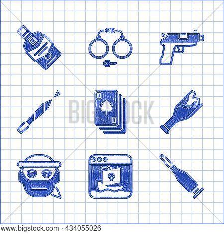 Set Playing Cards, Internet Piracy, Bullet, Broken Bottle As Weapon, Bandit, Marijuana Joint, Pistol
