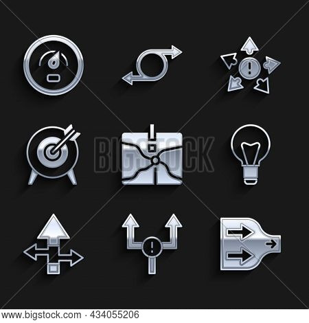 Set Intersection Point, Arrow, Light Bulb, Target, Many Ways Directional Arrow And Digital Speed Met
