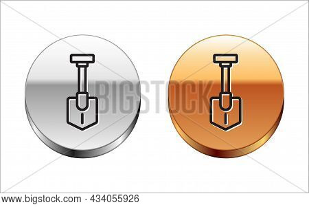 Black Line Shovel Icon Isolated On White Background. Gardening Tool. Tool For Horticulture, Agricult