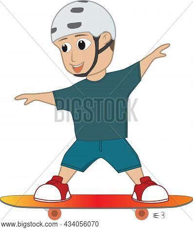 On A Sunny Day A Friendly Boy Was Skateboarding. He Is Adeptly Skating With His Skateboard And Looks