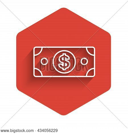 White Line Stacks Paper Money Cash Icon Isolated With Long Shadow Background. Money Banknotes Stacks