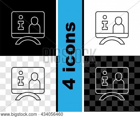Set Line Television Report Icon Isolated On Black And White, Transparent Background. Tv News. Vector