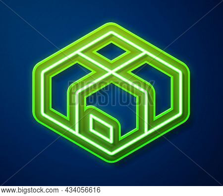 Glowing Neon Line Carton Cardboard Box Icon Isolated On Blue Background. Box, Package, Parcel Sign.