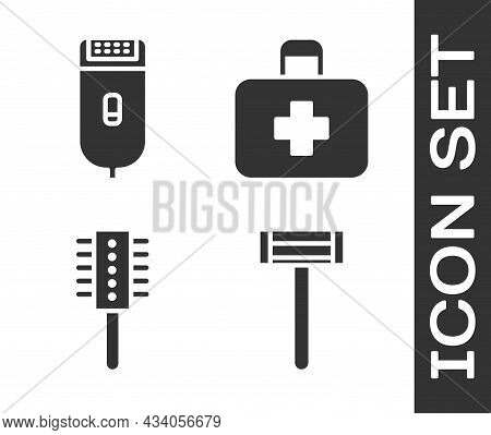 Set Shaving Razor, Electrical Hair Clipper Or Shaver, Hairbrush And First Aid Kit Icon. Vector