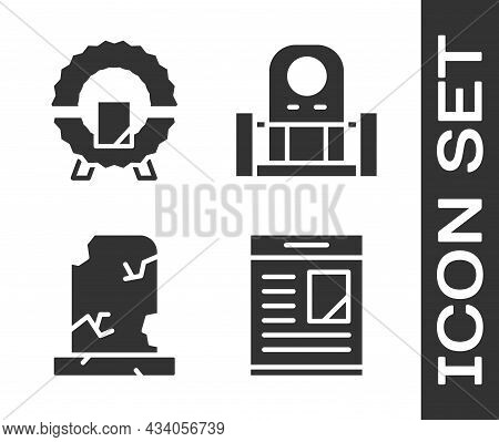 Set Obituaries, Memorial Wreath, Old Grave With Tombstone And Grave With Tombstone Icon. Vector