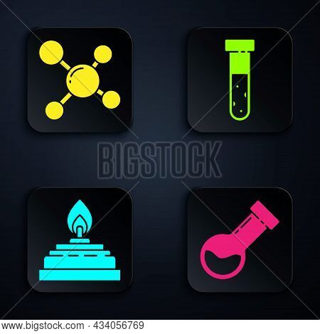 Set Test Tube And Flask Chemical, Molecule, Alcohol Or Spirit Burner And Test Tube And Flask Chemica