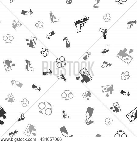 Set Pistol Or Gun, Cocktail Molotov, Bloody Money And Handcuffs On Seamless Pattern. Vector