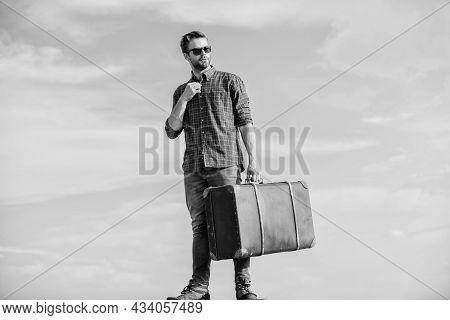 Travel More. Macho Man Tourist Tour Bag. Male Fashion Style. Looking So Trendy. Sexy Man Sky Backgro