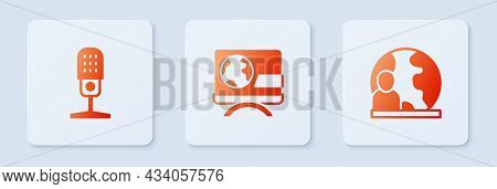 Set Breaking News, Microphone And World. White Square Button. Vector