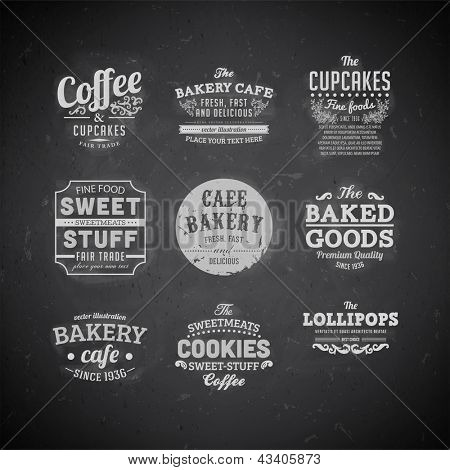 Set of retro bakery labels, ribbons and cards for vintage design, Chalk typography design on blackboard