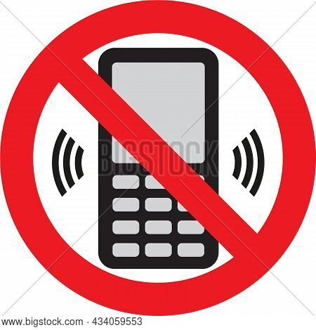 Telephone Warning Stop Sign Icon. Push Button Phone Turn Off. Vector Illustration