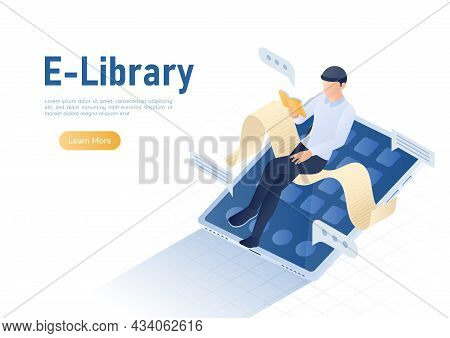 3d Isometric Web Banner Businessman Reading Book On Digital Tablet. Online Library And E-book Concep