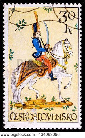 Czechoslovakia - Circa 1972: A Stamp Printed In Czechoslovakia, Shows Hussar 18th Century, Circa 197