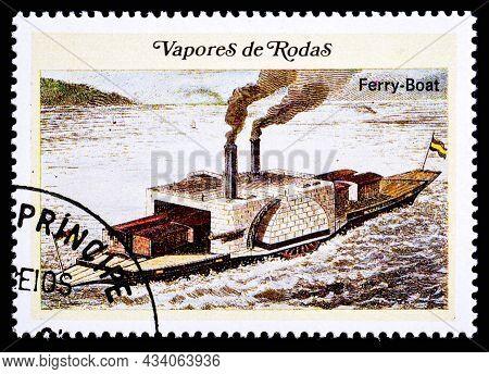 Portugal - Circa 1977: Stamp Showing Vapor De Rodas 1893 Ferry-boat