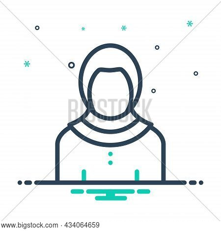 Mix Icon For Iraqi Homeless Migrant Woman Afghan Emigrant Country