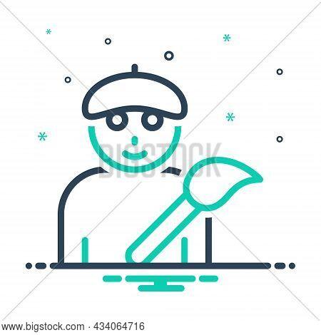 Mix Icon For Artist Painter Paintbrush Creator Artiste Maestro Designer Producer Fine-artist