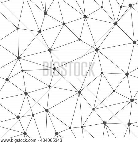 Seamless Vector Linear Pattern Forms Triangles With Circles At The Vertices. Vector Illustrations Fo