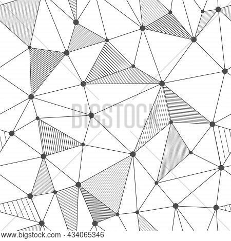 Seamless Vector Linear Pattern Forms Triangles With Shaded Edges. Vector Illustrations For Textures,