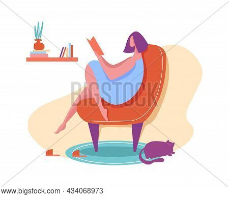 Girl Reading Book Sitting In Armchair At Home. Woman Reading Comfort In Quarantine, Comfortable Rest