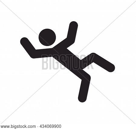 A Man Falling Down Icon. Man Slipped Icon. Slippery Wet Floor. Vector Illustration Isolated On White