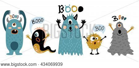 Cartoon Monsters. Cute Creatures With Fun Face, Little Funny Symbols Of Horror, Humor Characters For