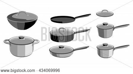 Pans Pots And Saucepans. Kitchen Pan Objects, Kitchenware Tools Collection For Cooking. Elements For