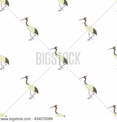 Chinese Crane Pattern Seamless Background Texture Repeat Wallpaper Geometric Vector