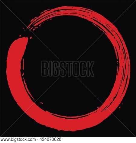 Red Blood Zen Enso Circle Vector Art Brush Icon Design