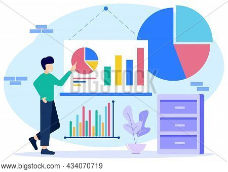 Flat Infographic Vector Illustration. Flat Small Chart Data. Abstract Blank Pie Chart And Schematic
