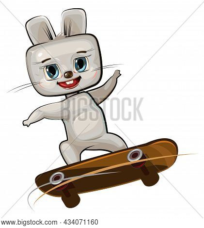 Little Hare On Skateboard. Cartoon Style. Childrens Urban Sports. Cute Baby Skater Rides On Board. S