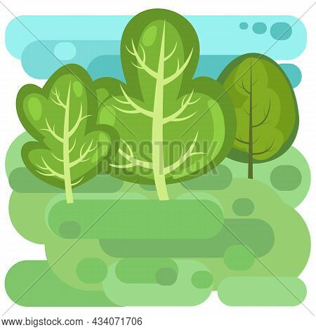 Flat Forest. Illustration In A Simple Symbolic Style. Funny Green Landscape. Isolated. Comic Cartoon