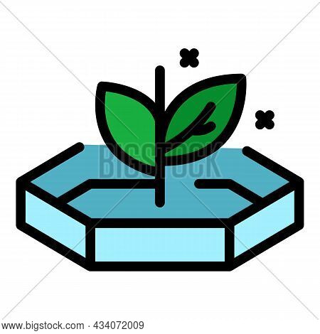 Lab Plant Crop Icon. Outline Lab Plant Crop Vector Icon Color Flat Isolated
