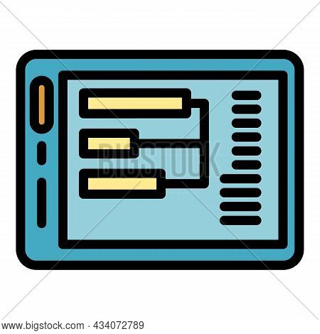Interaction Tablet Icon. Outline Interaction Tablet Vector Icon Color Flat Isolated