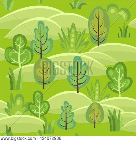 Flat Forest. Seamless Pattern. Illustration In A Simple Symbolic Style. Hills. Funny Green Landscape