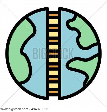Global Interaction Icon. Outline Global Interaction Vector Icon Color Flat Isolated