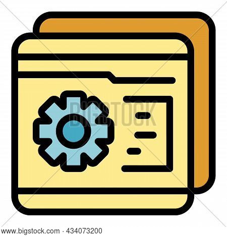 Gear Wheel Folder Interaction Icon. Outline Gear Wheel Folder Interaction Vector Icon Color Flat Iso