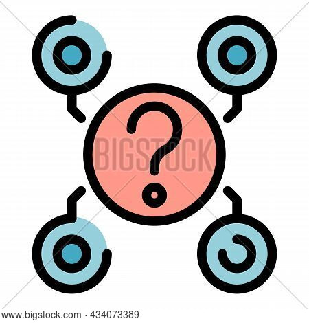 Question Interaction Icon. Outline Question Interaction Vector Icon Color Flat Isolated