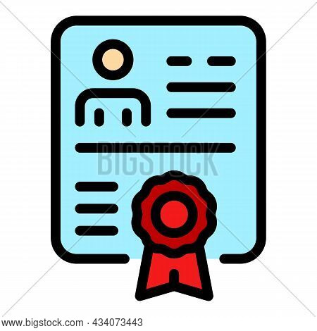 Diploma Icon. Outline Diploma Vector Icon Color Flat Isolated