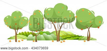 Garden And Rolling Hills. Rural Landscape With Fruit Apricot Trees And Farmer Hills. Cute Funny Cart
