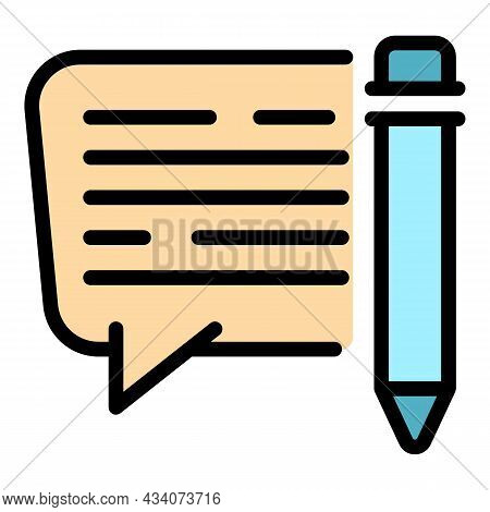 Writing Review Icon. Outline Writing Review Vector Icon Color Flat Isolated