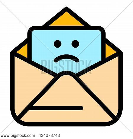 Sad Work Email Icon. Outline Sad Work Email Vector Icon Color Flat Isolated