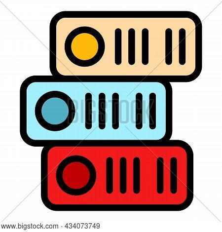 Office Stack Folders Icon. Outline Office Stack Folders Vector Icon Color Flat Isolated