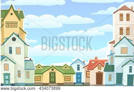 Cartoon Houses With Sky. Village Or Town. Frame. A Beautiful, Cozy Country House In A Traditional Eu
